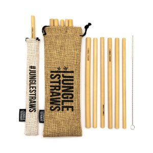 Bamboo Straws with Natural Hessian Carry Case